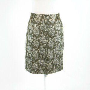 Olive green J. CREW pencil skirt 0